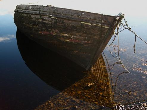 Sunken boat, Isle of Skye, Scotland